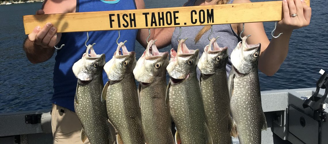 Anglers holding their catch of trout